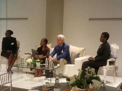 Dr. Susan Mboya (President, the Coca-Cola Africa Foundation), Lerato Mbele (BBC journalist and broadcaster), Antonello Barbaro (Manager of Private Sector Partnerships at Global Fund), Sola David-Borha (CE of Standard Bank Africa Regions)