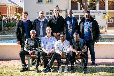 Back: L-R Daniel van der Walt (Vocals), Muneeb Hermans (Trumpet), Nicholas Pitman (Guitar), Godfrey Mntambo (Alto), Dalisu Ndlazi (Bass) Front: L-R Tshiamo Nkoane (Drums), Buddy Wells (Conductor), Zibusiso Makhathini (Piano), Thami Mahlangu (Tenor)