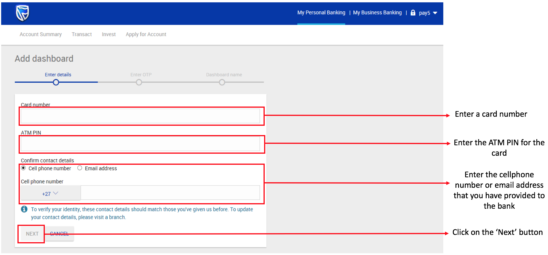 How To Add A New Dashboard On New Online Banking