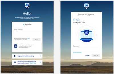 New two-step Online Banking login screen