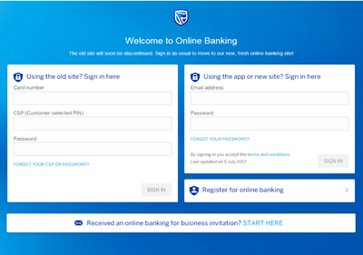 Previous Online Banking login screen