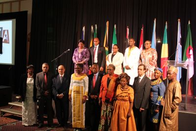 First Lady Monica Geingos pictured with the various Heads of Missions during the Africa Day gala dinner