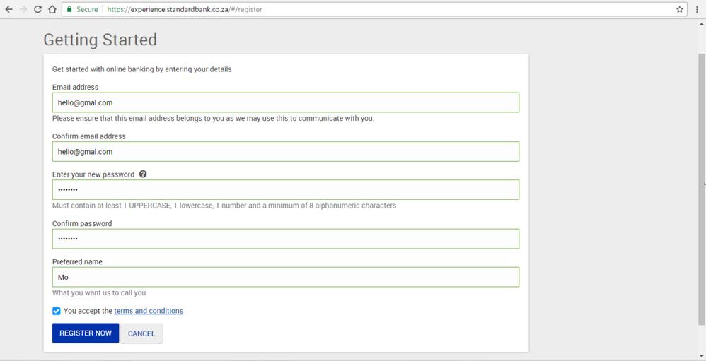 Step 3 Registering for new Online Banking