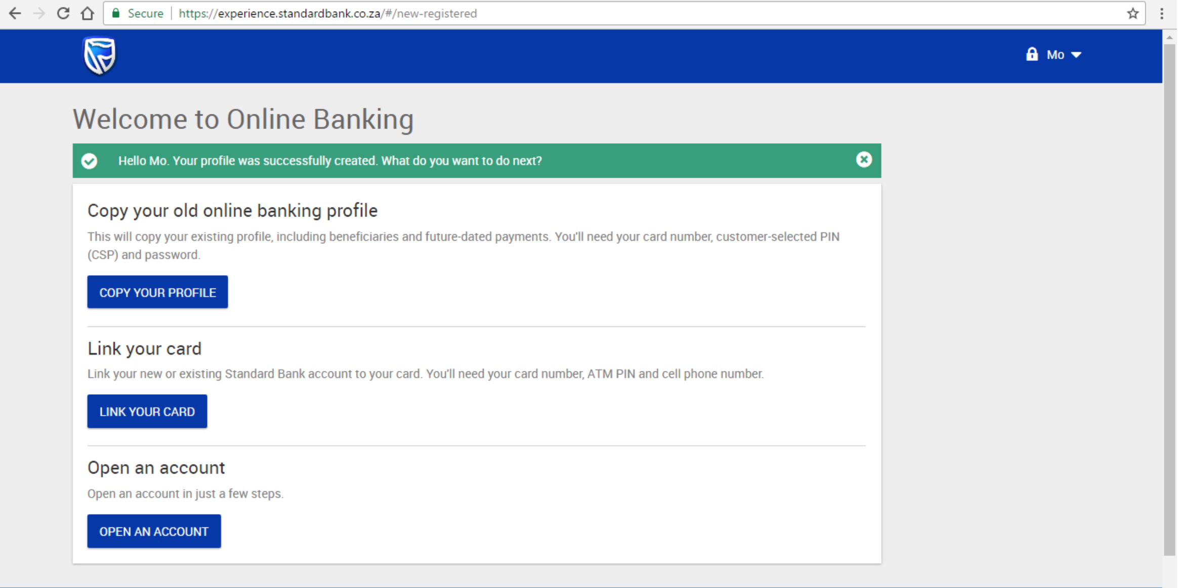 standard bank account application online