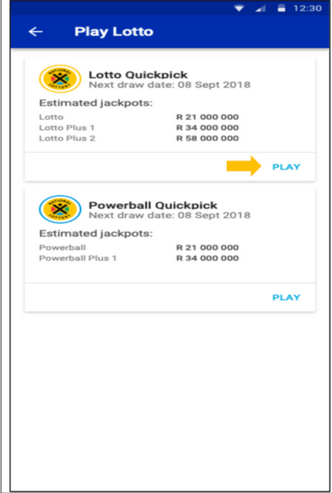 How to Play Lotto and QuickPick on the Mobile Bank    - Standard